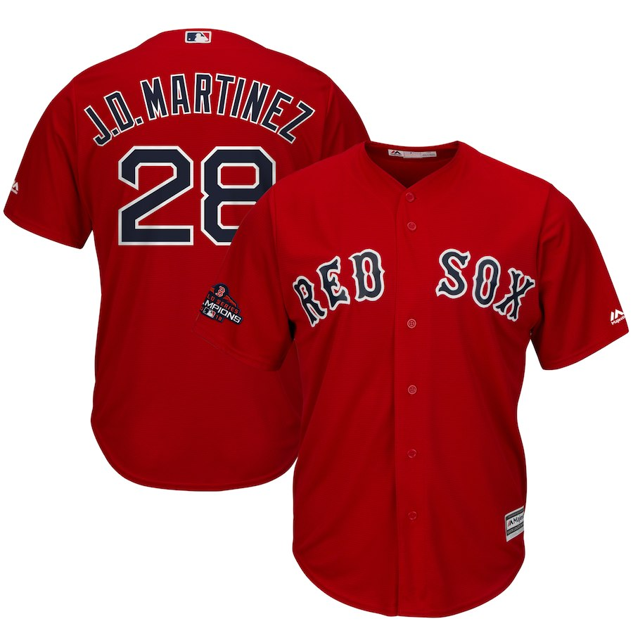Red Sox 28 J.D. Martinez Red Women 2018 World Series Champions Cool Base Jersey