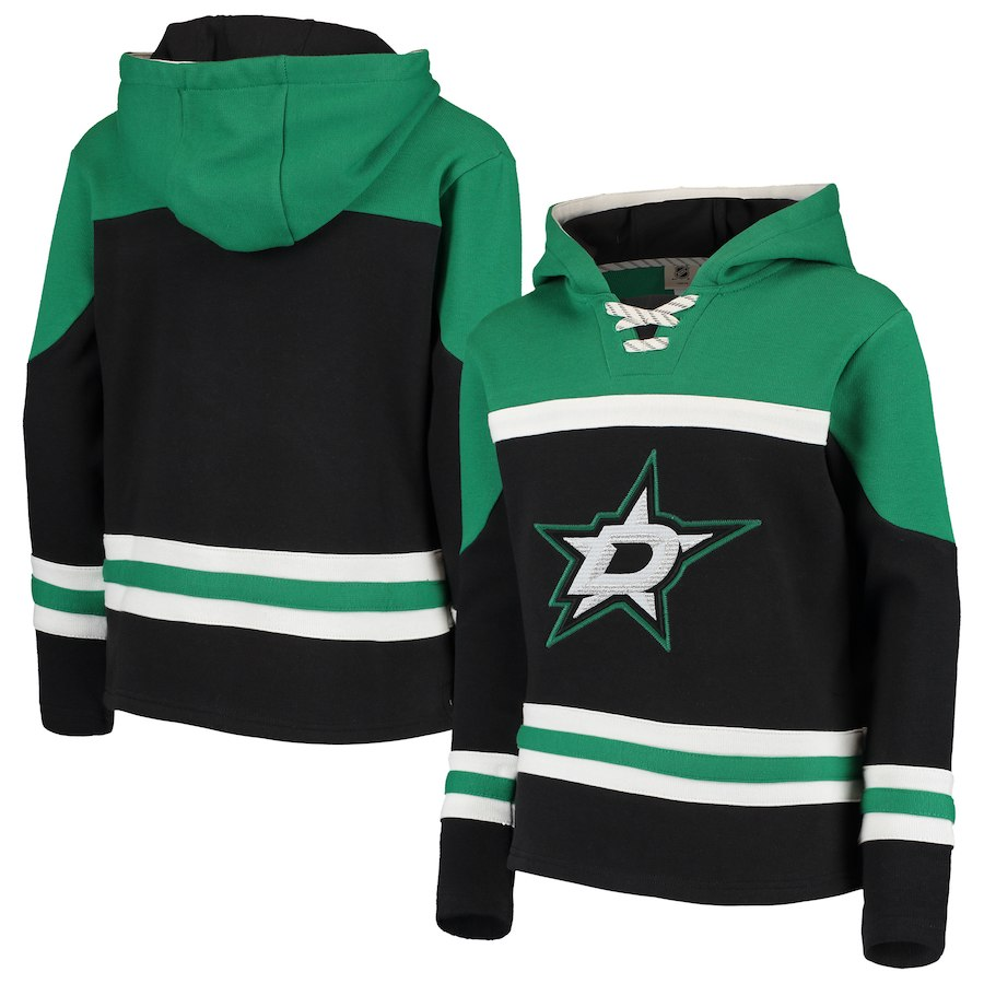 Dallas Stars Black Men's Customized All Stitched Hooded Sweatshirt