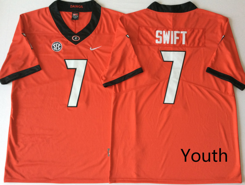 Georgia Bulldogs 7 D'Andre Swift Red Youth Nike College Football Jersey
