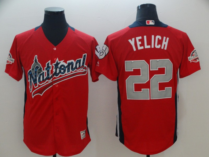 National League 22 Christian Yelich Red 2018 MLB All-Star Game Home Run Derby Jersey