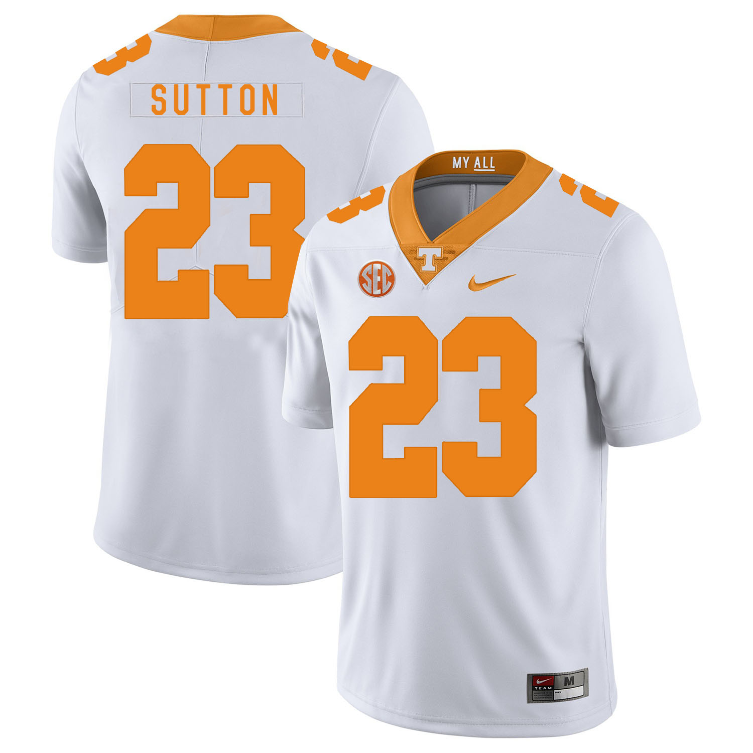 Tennessee Volunteers 23 Cameron Sutton White Nike College Football Jersey