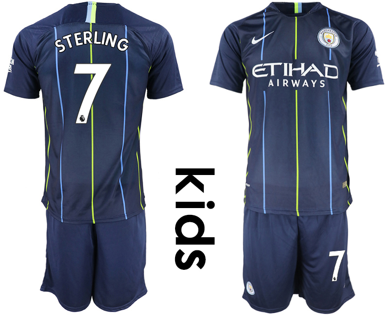 2018-19 Manchester City 7 STERLING Away Youth Soccer Jersey