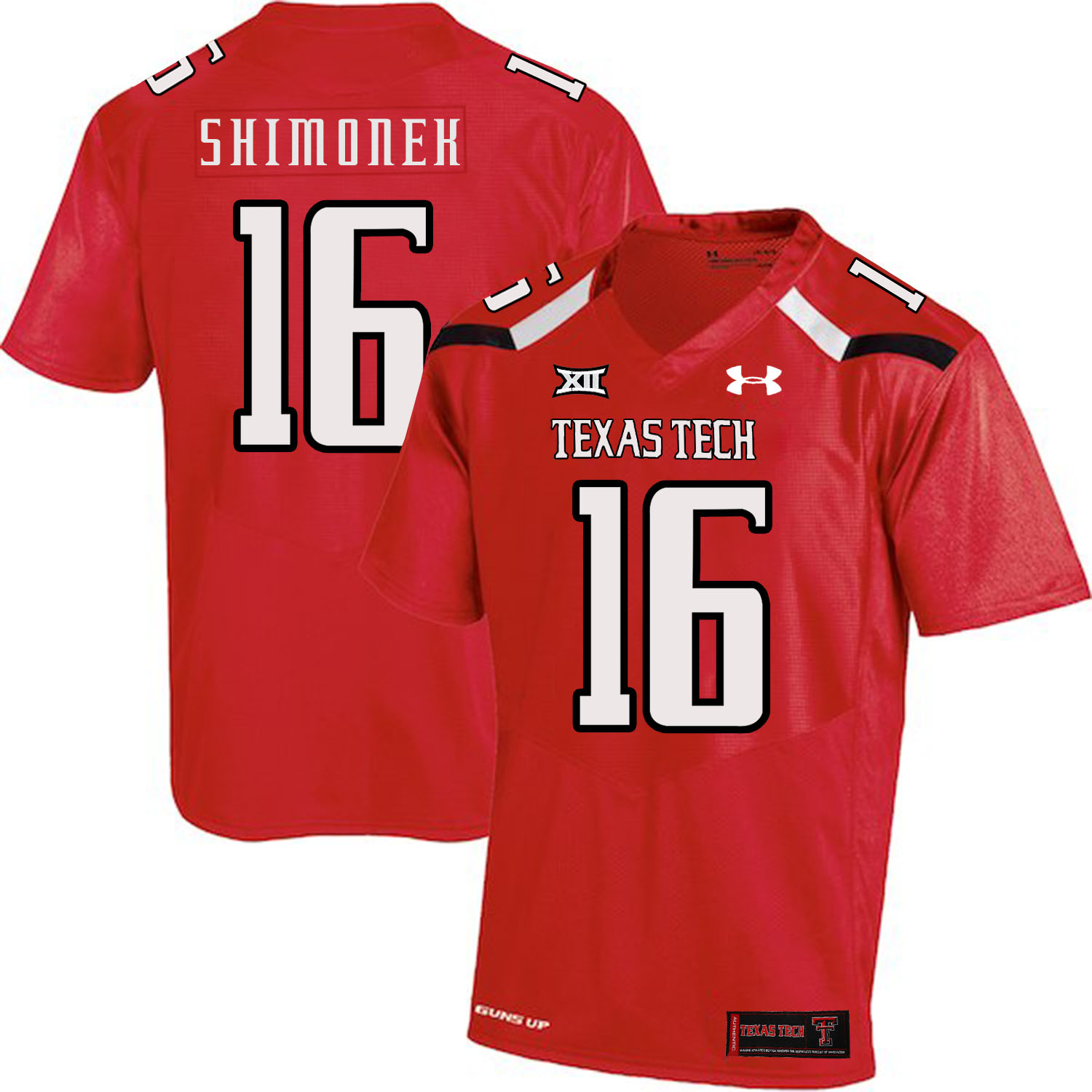 Texas Tech Red Raiders 16 Nic Shimonek Red College Football Jersey