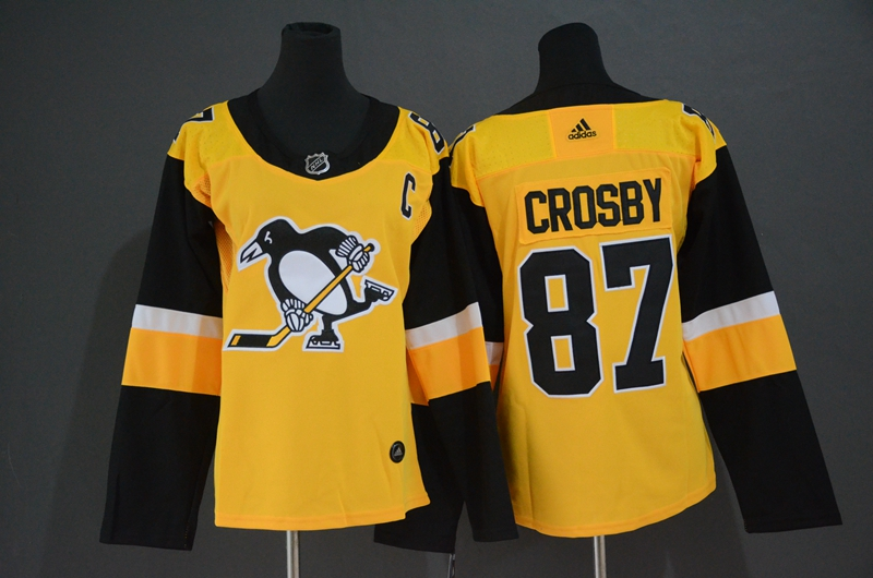 Penguins 87 Sidney Crosby Yellow Women Adidas Jersey
