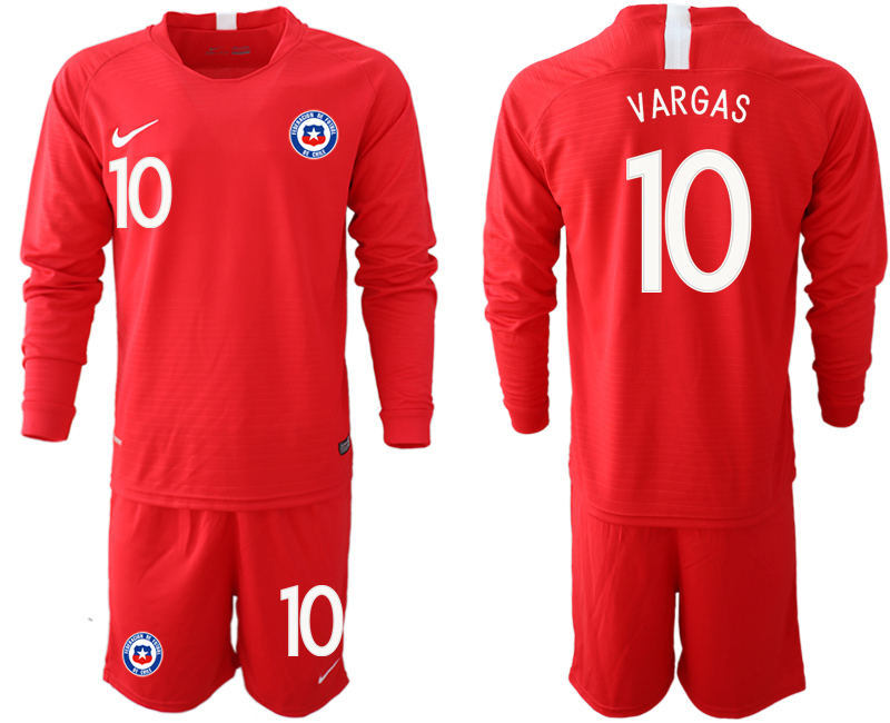 2018-19 Chile 10 VARGAS Home Long Sleeve Soccer Jersey