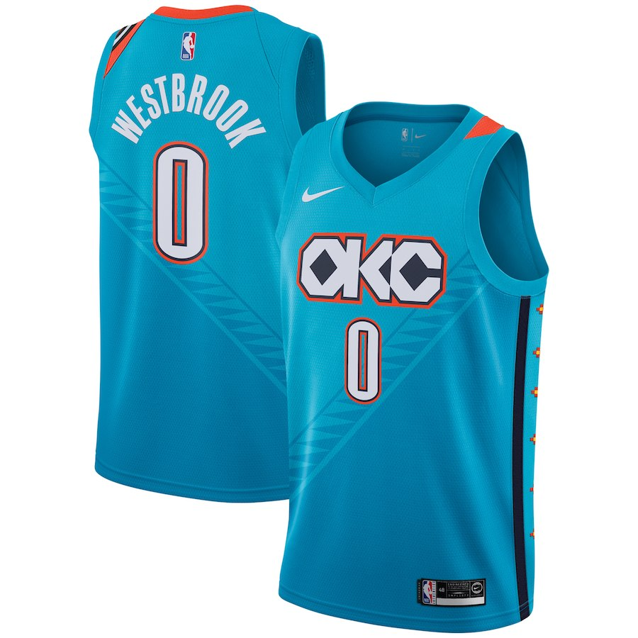 Thunder 0 Russell Westbrook Turquoise 2018-19 City Edition Nike Swingman Jersey