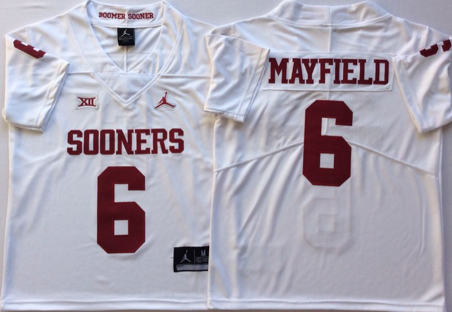 Oklahoma Sooners 6 Baker Mayfield White College Football Jersey