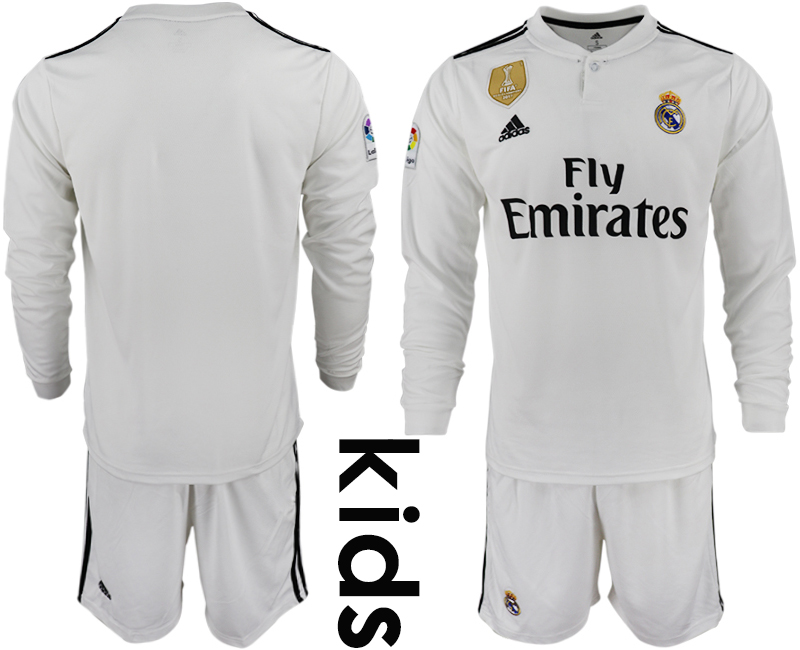 2018-19 Real Madrid Home Youth Long Sleeve Soccer Jersey
