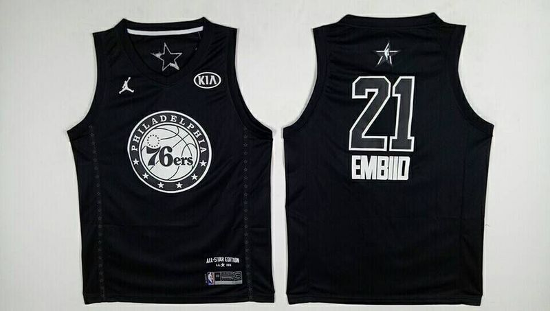 76ers 21 Joel Embiid Black 2018 All-Star Game Jordan Brand Authentic Jersey