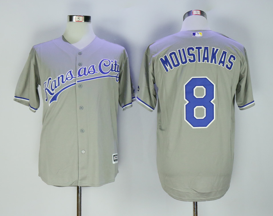 Royals 8 Mike Moustakas Gray Cool Base Jersey