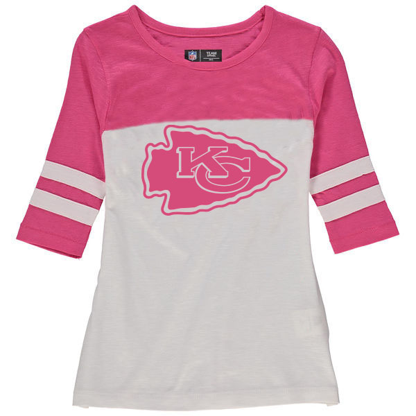 Kansas City Chiefs 5th & Ocean by New Era Girls Youth Jersey 34 Sleeve T-Shirt White/Pink