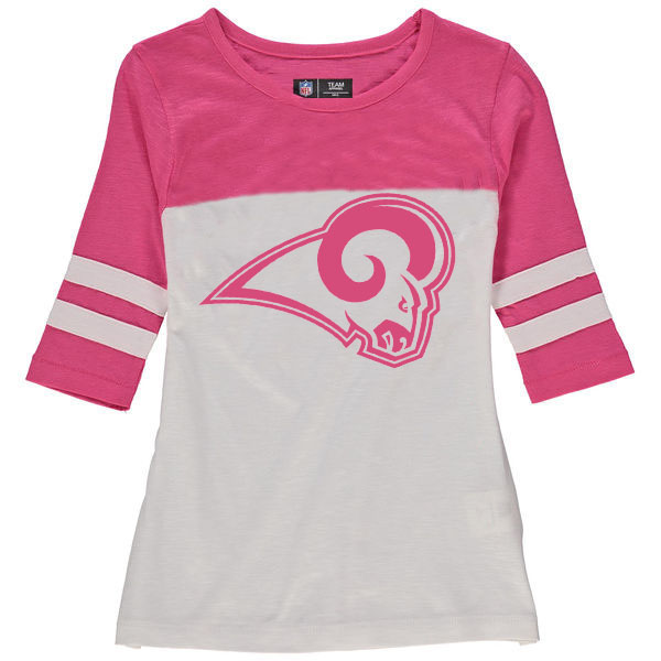 Los Angeles Rams 5th & Ocean by New Era Girls Youth Jersey 34 Sleeve T-Shirt White/Pink
