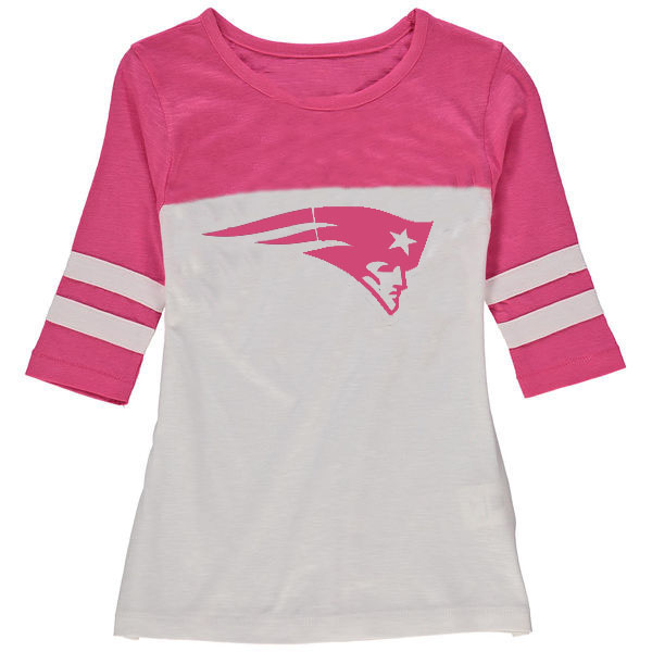 New England Patriots 5th & Ocean by New Era Girls Youth Jersey 34 Sleeve T-Shirt White/Pink