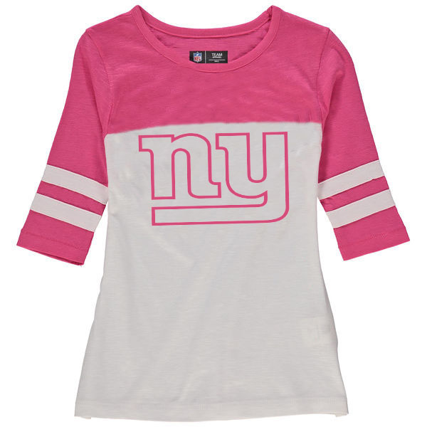 New York Giants 5th & Ocean by New Era Girls Youth Jersey 34 Sleeve T-Shirt White/Pink