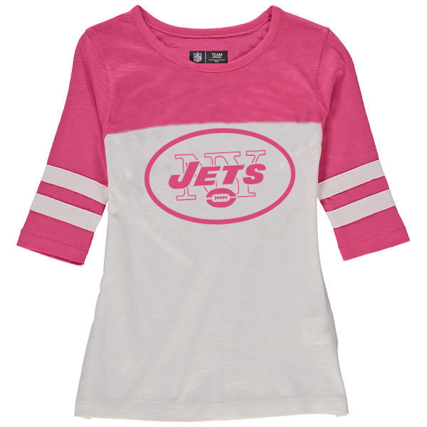 New York Jets 5th & Ocean by New Era Girls Youth Jersey 34 Sleeve T-Shirt White/Pink