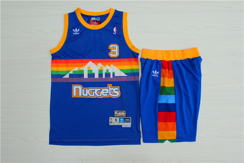 Nuggets 3 Allen Iverson Blue Hardwood Classics Jersey(With Shorts)