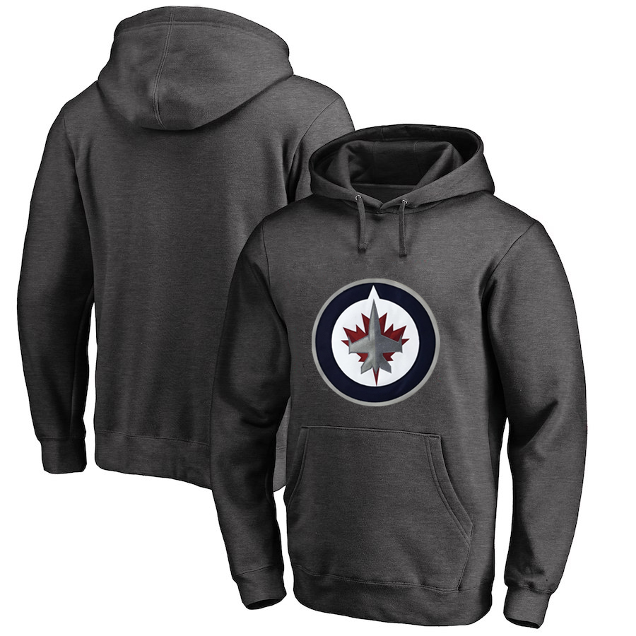 Winnipeg Jets Dark Gray Men's Customized All Stitched Pullover Hoodie