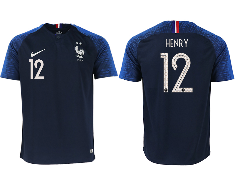 France 12 HENRY Home 2018 FIFA World Cup Thailand Soccer Jersey