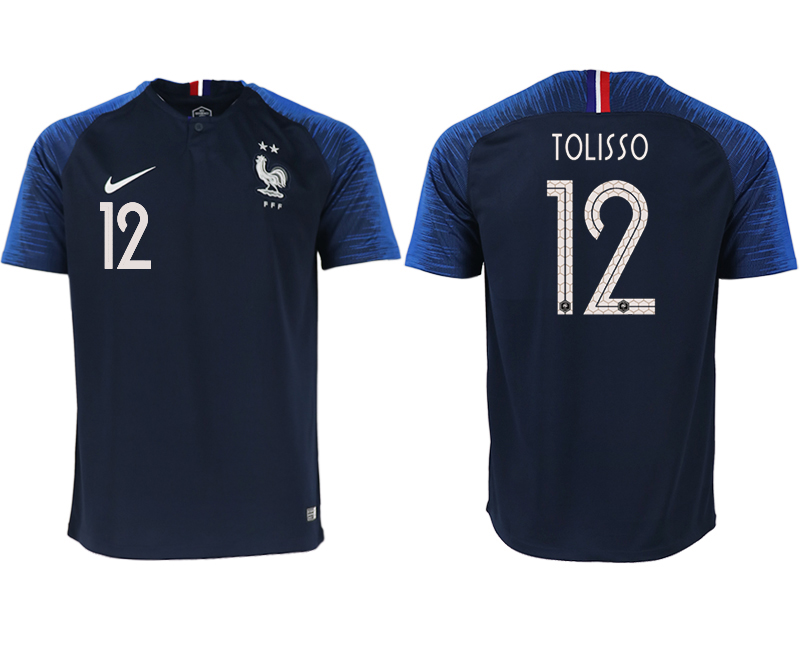 France 12 TOLISSO Home 2018 FIFA World Cup Thailand Soccer Jersey