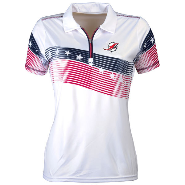 Women's Antigua Miami Dolphins White Patriot Polo