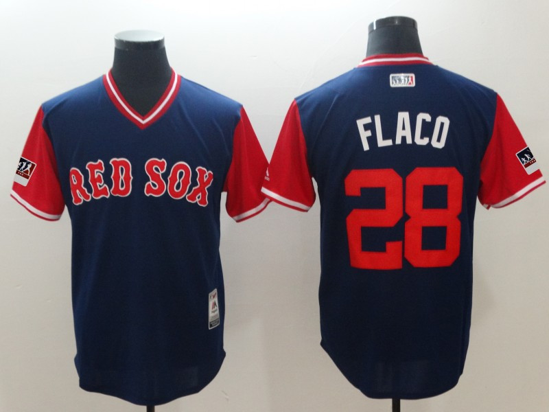 Red Sox 28 J.D. Martinez Flaco Navy 2018 Players' Weekend Authentic Team Jersey
