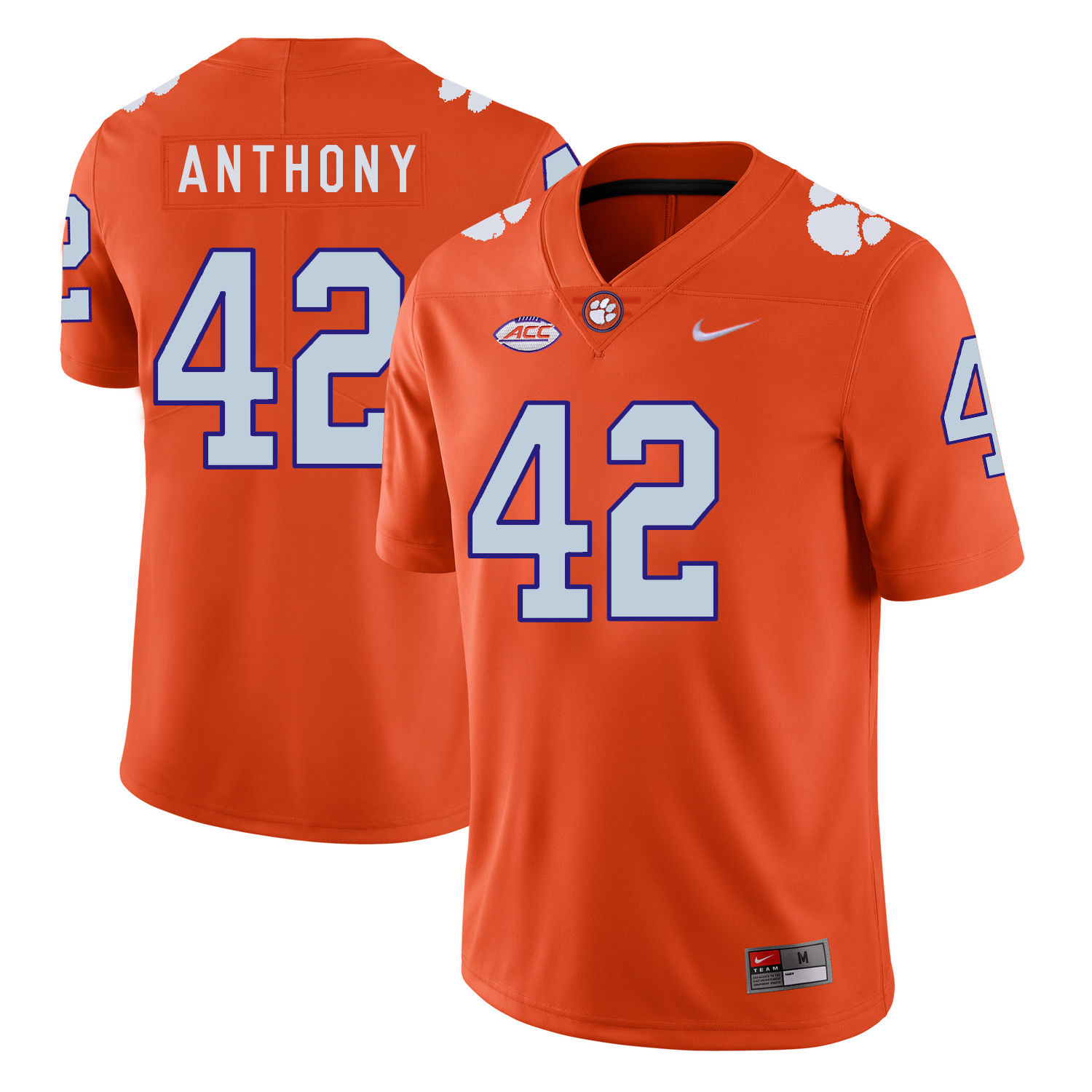 Clemson Tigers 42 Stephone Anthony Orange Nike College Football Jersey