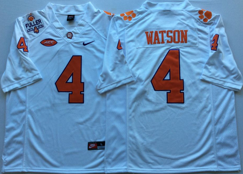 Clemson Tigers 4 Deshaun Watson White College Football Jersey