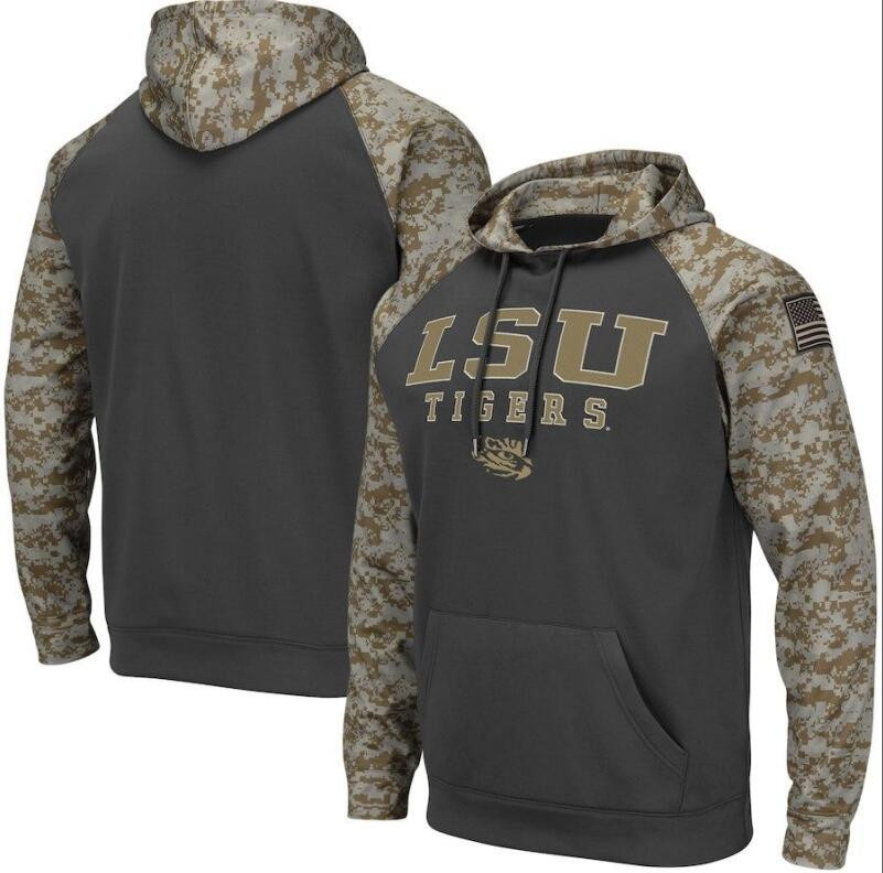 LSU Tigers Gray Camo Men's Pullover Hoodie