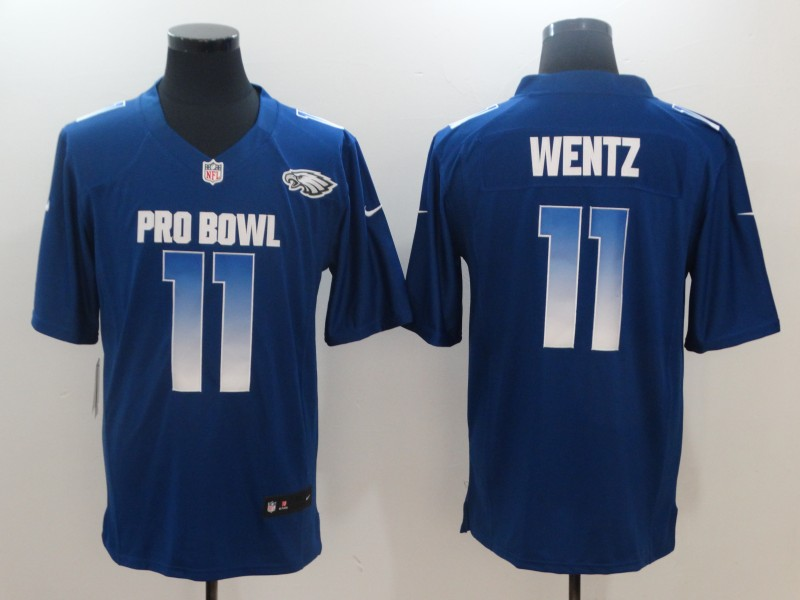 Nike NFC Eagles 11 Carson Wentz Royal 2019 Pro Bowl Game Jersey