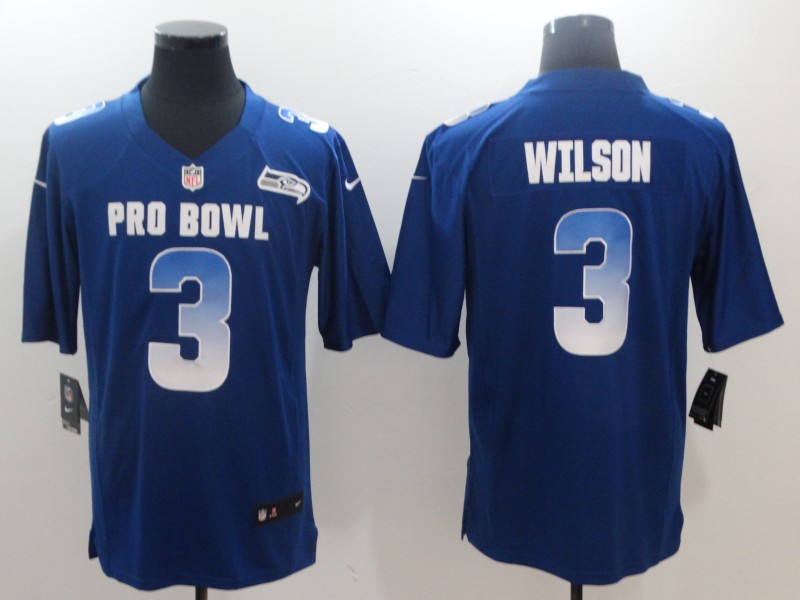 Nike NFC Seahawks 3 Russell Wilson Royal 2019 Pro Bowl Game Jersey