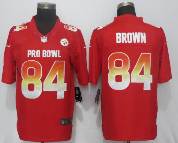 Nike AFC Steelers 84 Antonio Brown Red 2019 Pro Bowl Limited Jersey