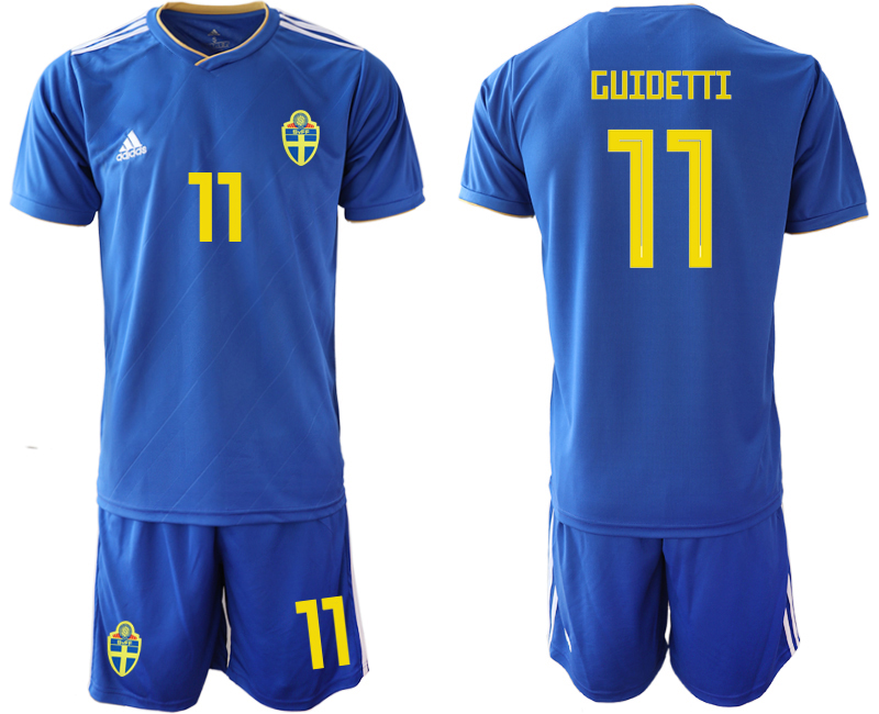 Sweden 11 GUIDETTI Away 2018 FIFA World Cup Soccer Jersey