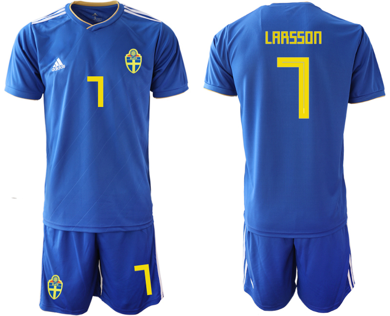 Sweden 7 LARSSON Away 2018 FIFA World Cup Soccer Jersey