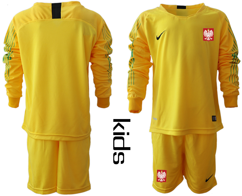 Poland Yellow Youth 2018 FIFA World Cup Long Sleeve Goalkeeper Soccer Jersey