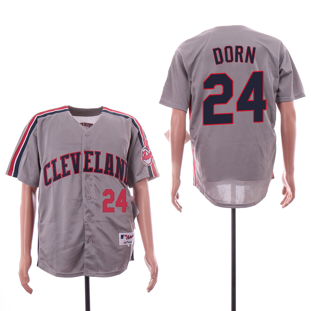 Indians 24 Roger Dorn Gray Turn Back The Clock Jersey