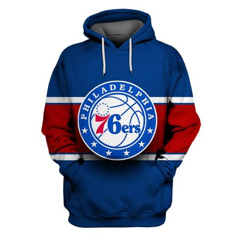 76ers Blue All Stitched Hooded Sweatshirt