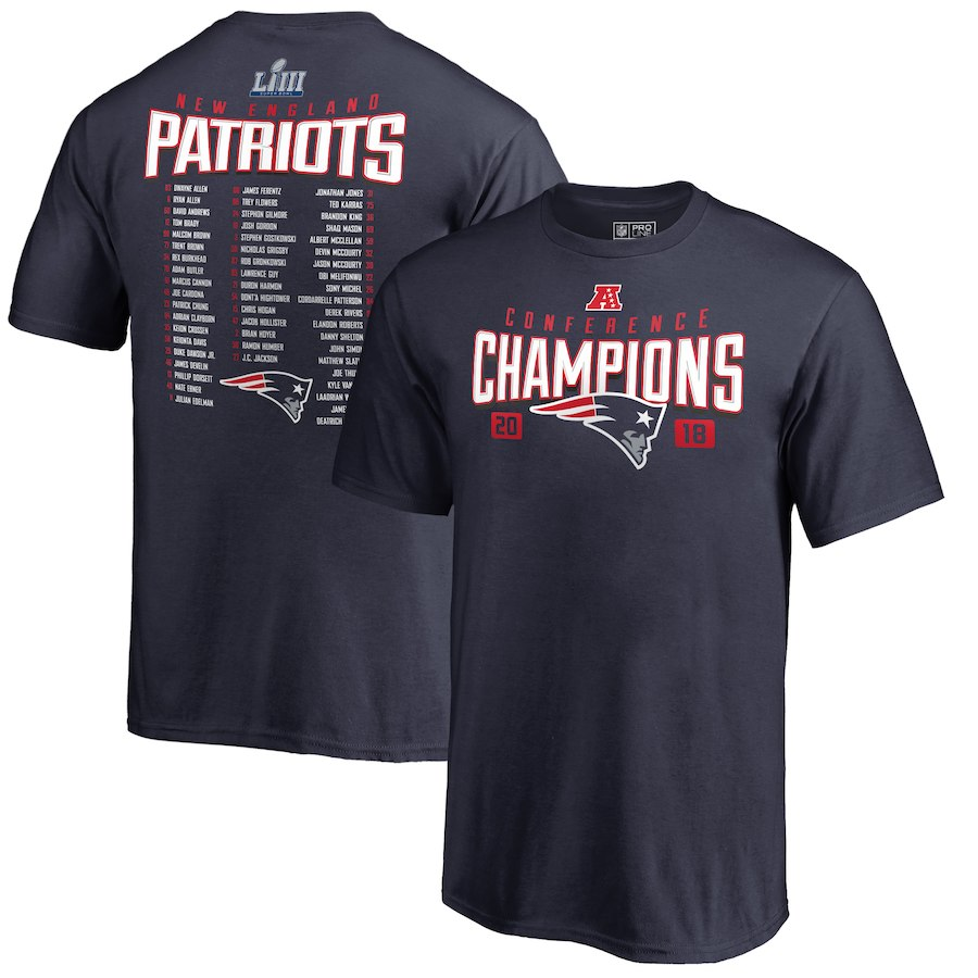 New England Patriots NFL Pro Line by Fanatics Branded Youth 2018 AFC Champions Free Safety T-Shirt Navy