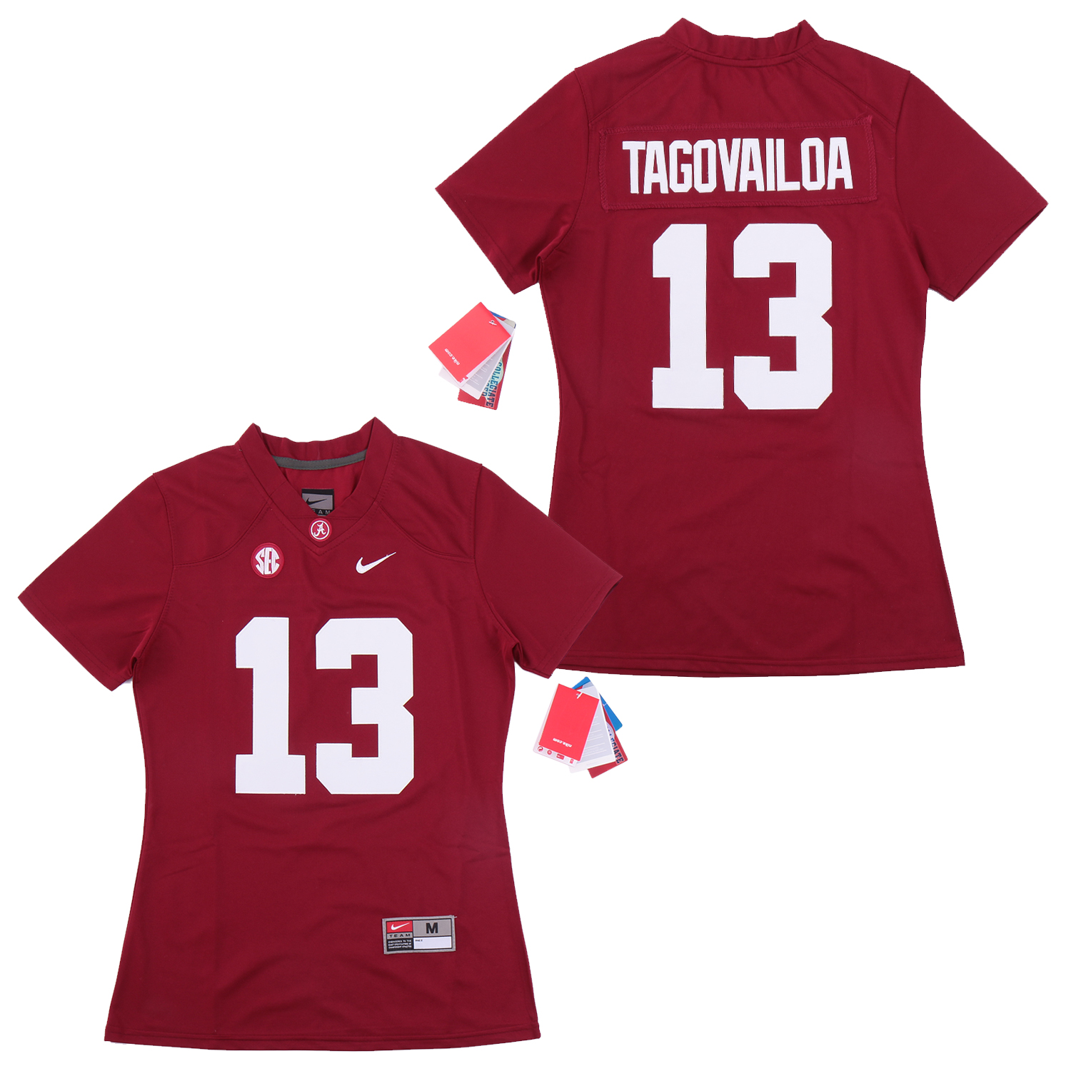 Alabama Crimson Tide 13 Tua Tagovailoa Red Women College Football Jersey