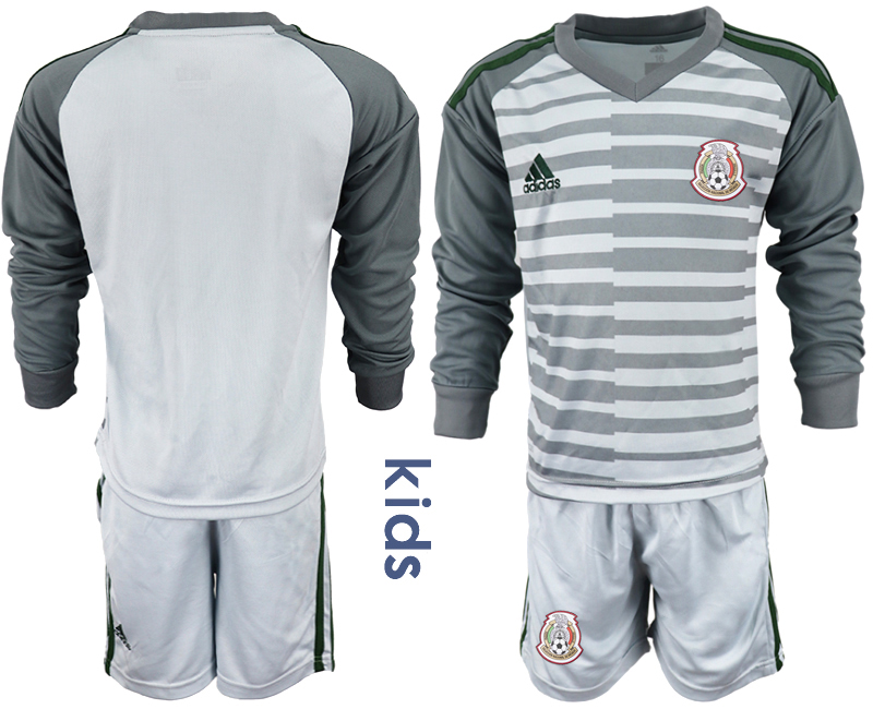 Mexico Gray Youth 2018 FIFA World Cup Long Sleeve Goalkeeper Soccer Jersey