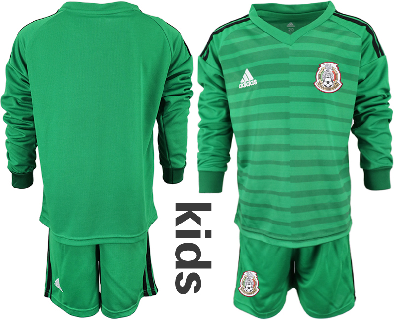 Mexico Green Youth 2018 FIFA World Cup Long Sleeve Goalkeeper Soccer Jersey