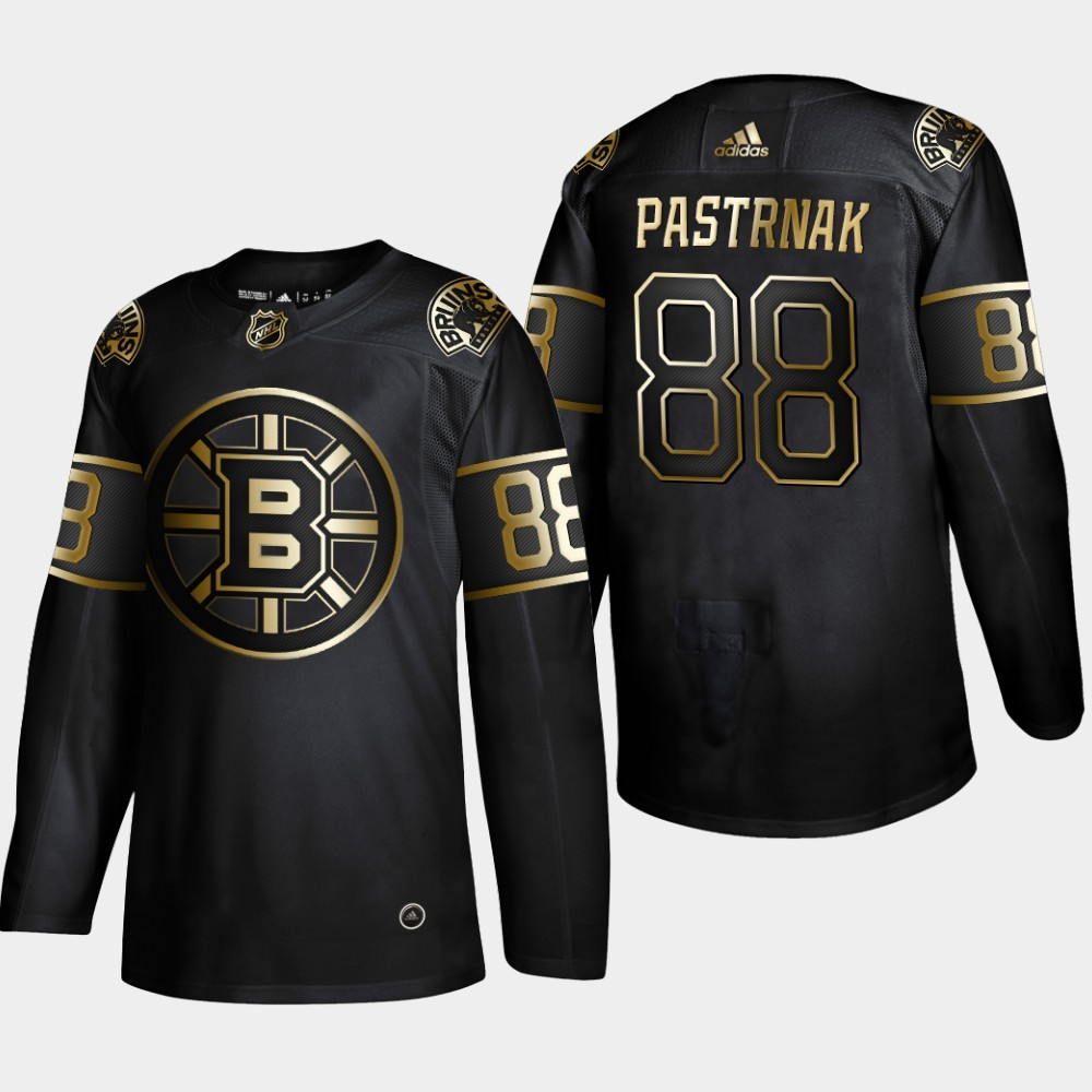 Bruins 88 David Pastrnak Black Gold Adidas Jersey