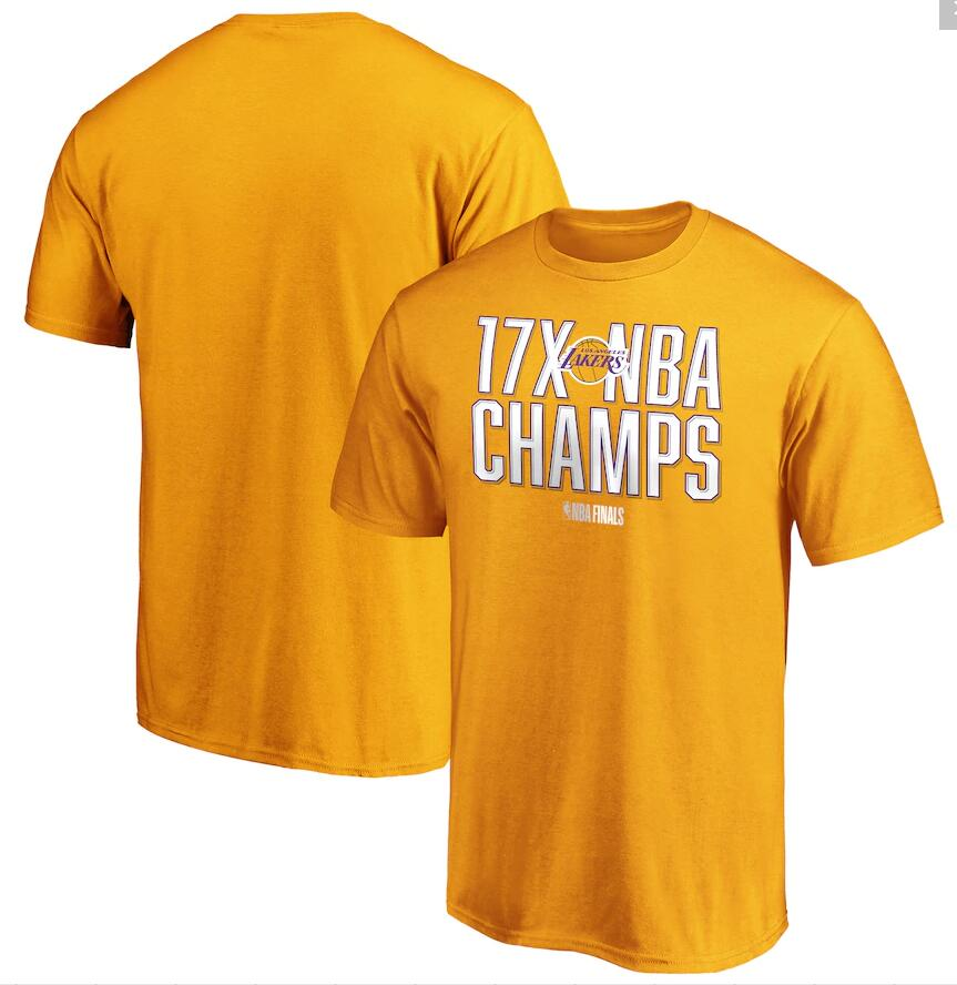Men's Los Angeles Lakers Gold 17 Time NBA Finals Champions Always Prepared T-Shirt