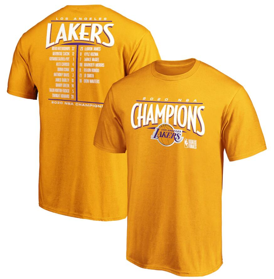 Men's Los Angeles Lakers Gold 2020 NBA Finals Champions Streaking Dunk Roster T-Shirt