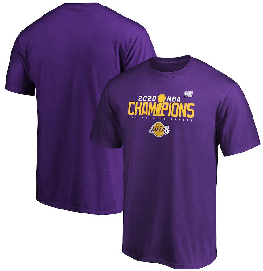 Men's Los Angeles Lakers Purple 2020 NBA Finals Champions Champs In The Line T-Shirt