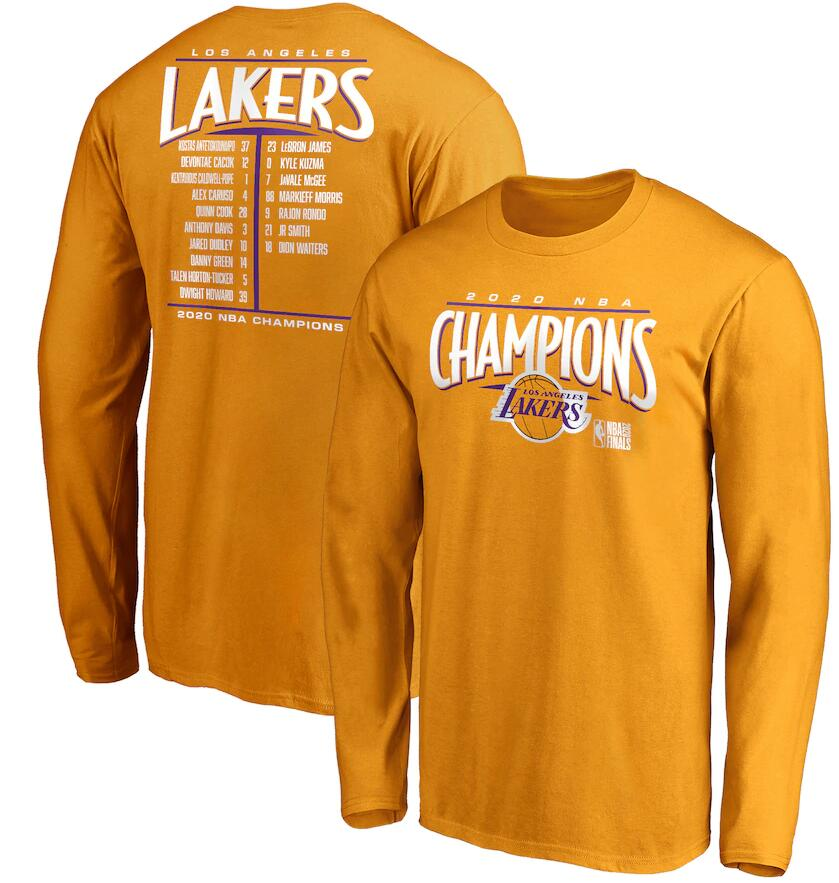 Men's Los Angeles Lakers Gold 2020 NBA Finals Champions Streaking Dunk Roster Long Sleeve T-Shirt