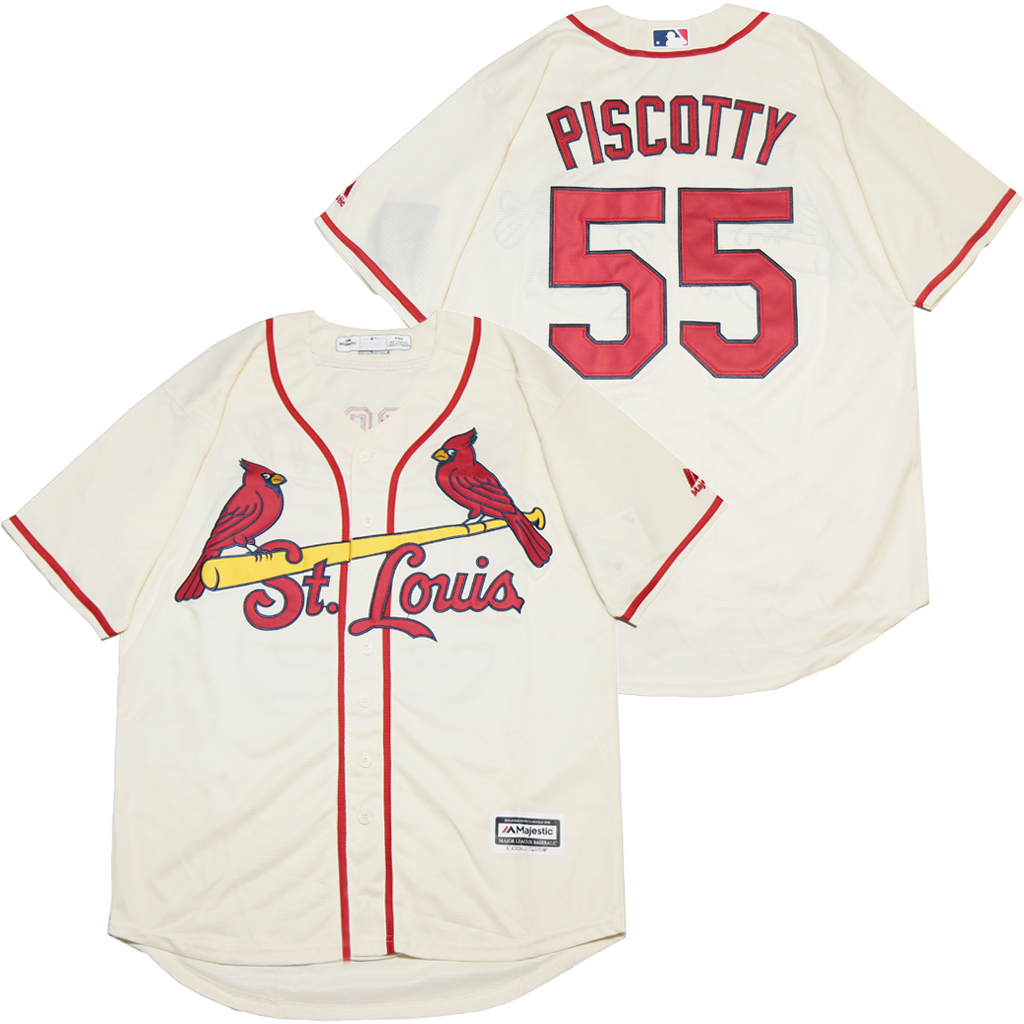 Cardinals 55 Stephen Piscotty Cream Cool Base Jersey
