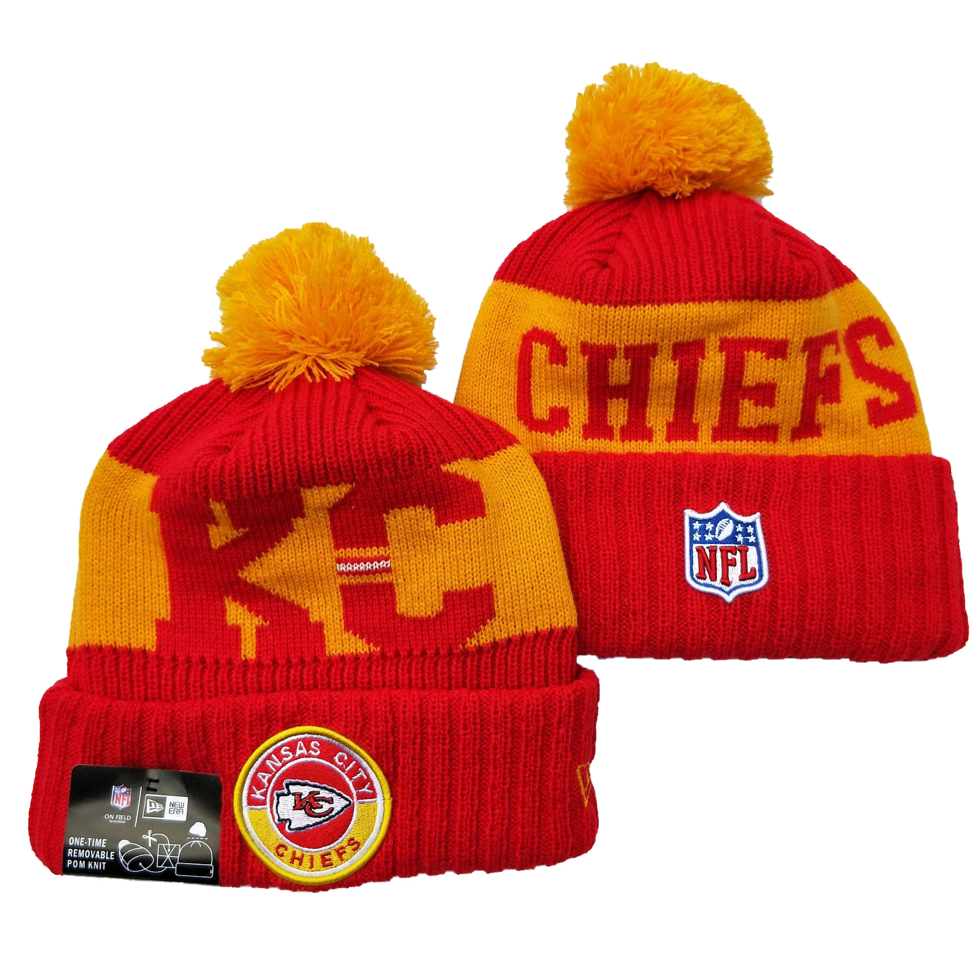 Chiefs Team Logo Red 2020 NFL Sideline Pom Cuffed Knit Hat YD