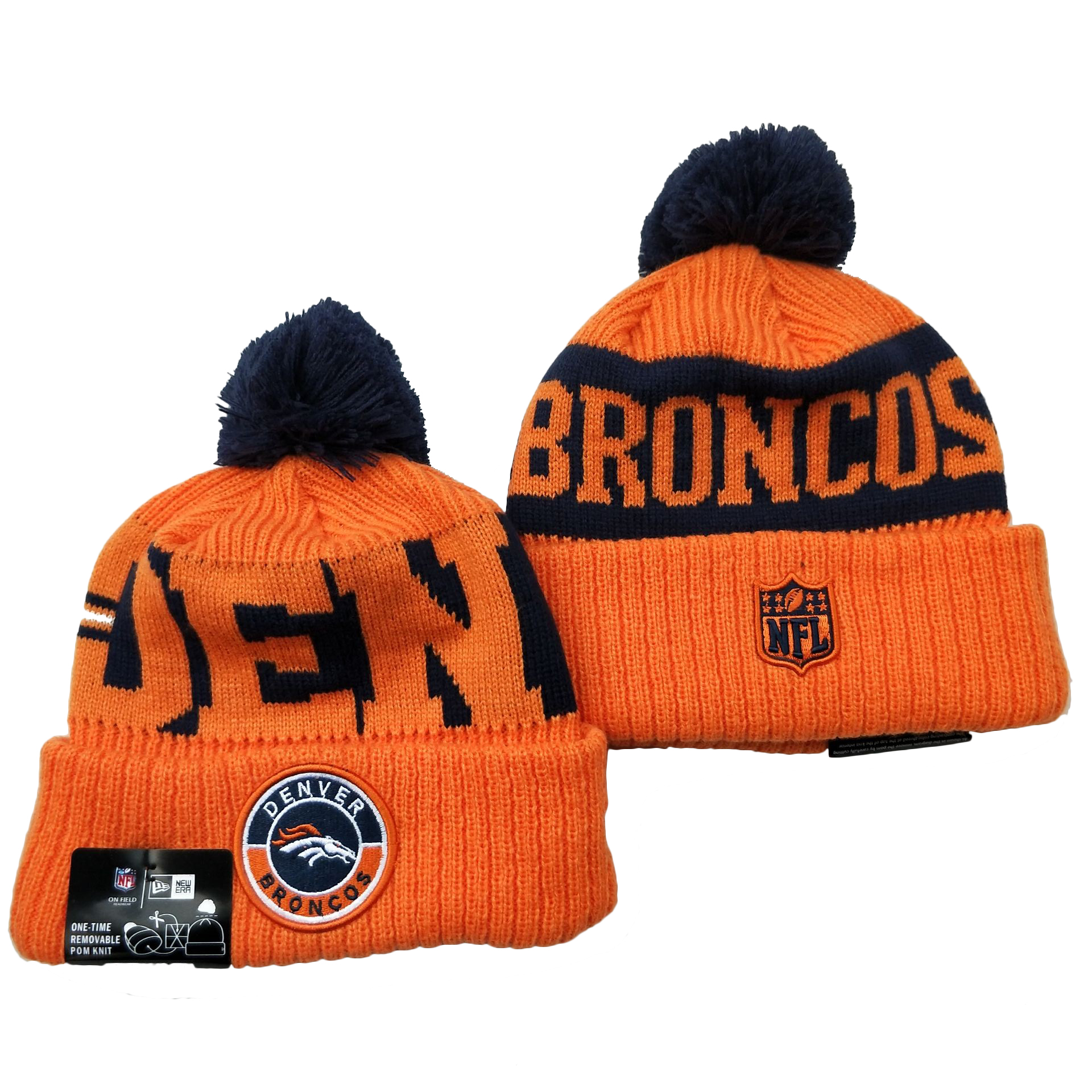 Broncos Team Logo Orange 2020 NFL Sideline Pom Cuffed Knit Hat YD