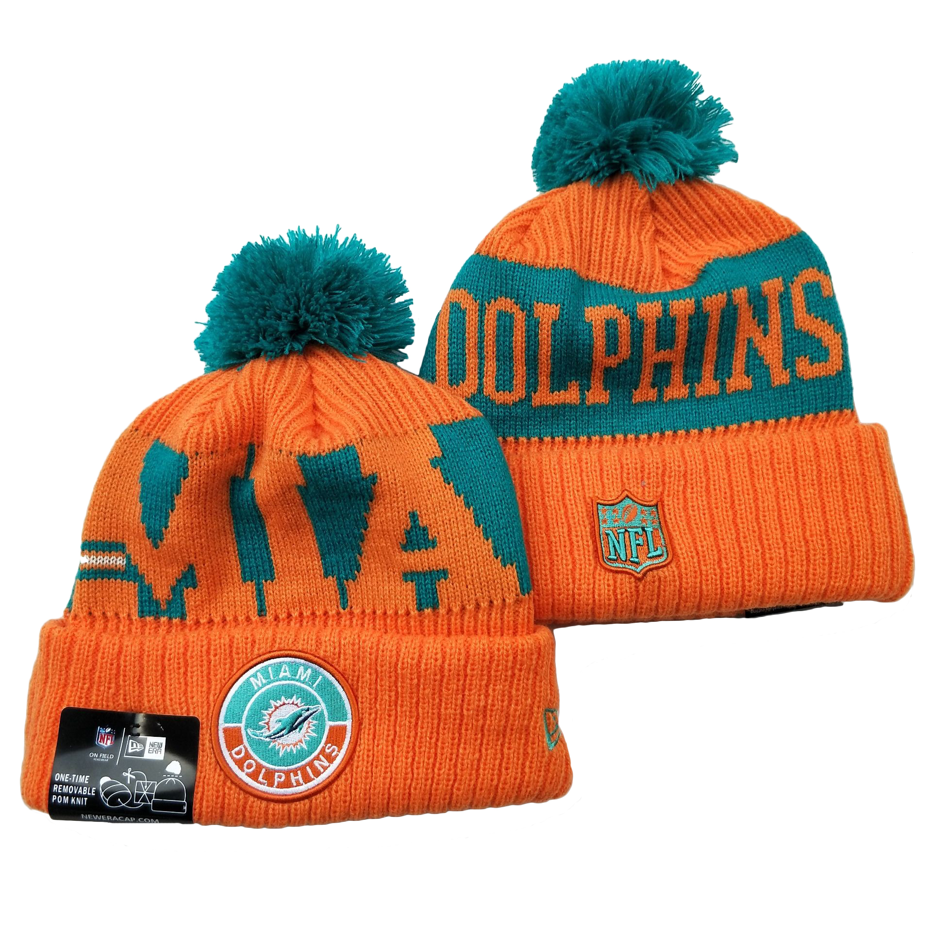 Dolphins Team Logo Orange 2020 NFL Sideline Pom Cuffed Knit Hat YD