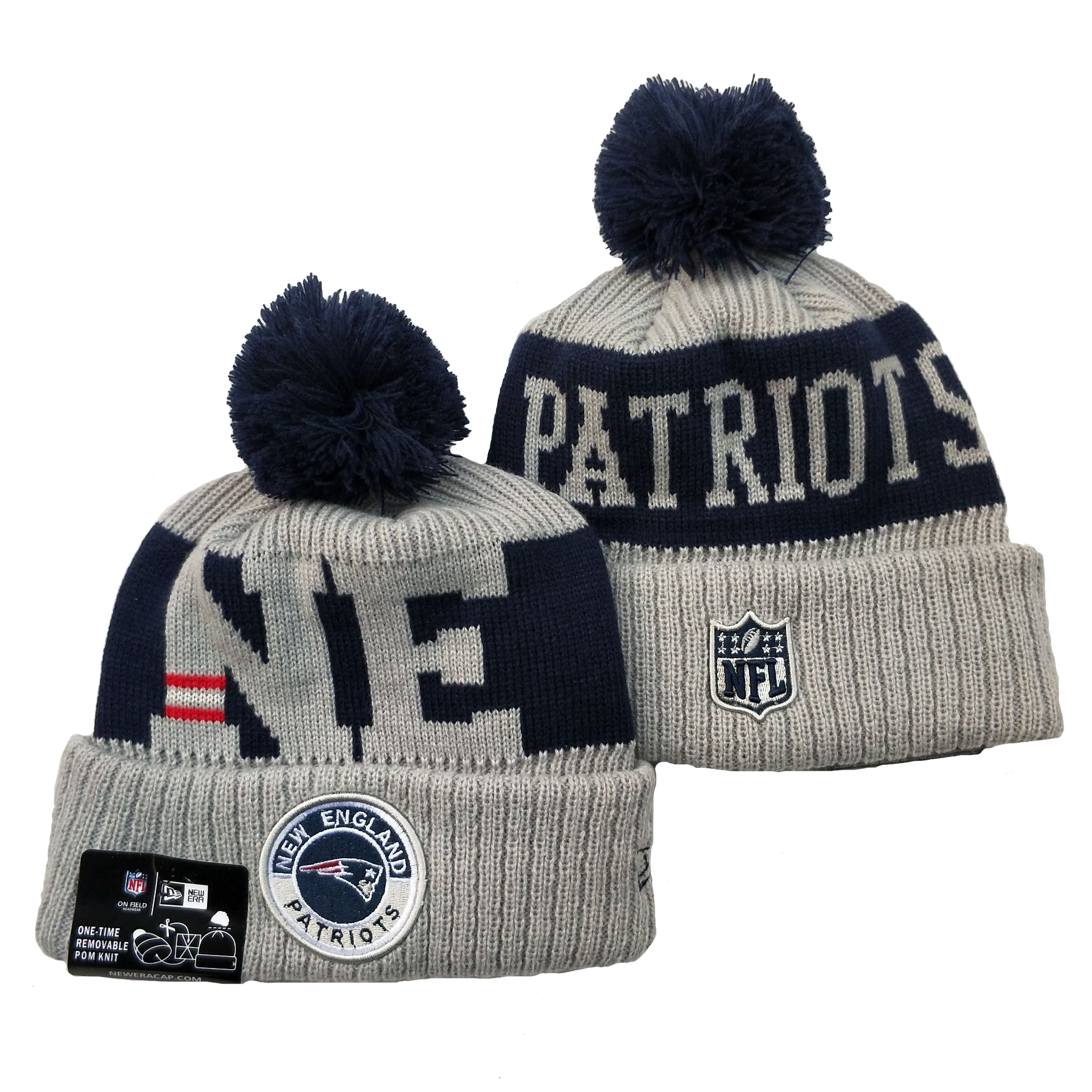 Patriots Team Logo Gray 2020 NFL Sideline Pom Cuffed Knit Hat YD